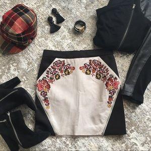 Rebecca Minkoff Malbec Embroidered Leather Skirt 0
